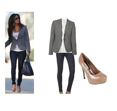 blazer with skinny jeans & high heels. love this look