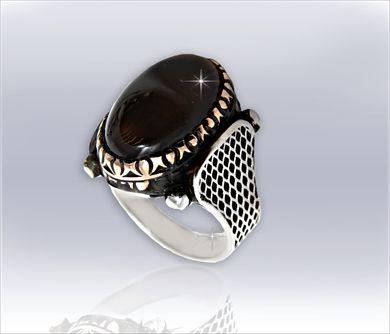 Oltu Taşı Gümüş Erkek Yüzük 2                                (erky_023)