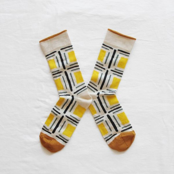 Bonne Maison socks made in France yellow square