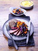 Wilde Blaubeeren aus Kanada -- Pfeffer-Hüftsteak mit Kürbis-Blaubeer-Gemüse http://www.wildeblaubeeren.de/39/pid/1408/apg/100/Pfeffer-Hueftsteak-mit-Kuerbis-Blaubeer-Gemuese.htm