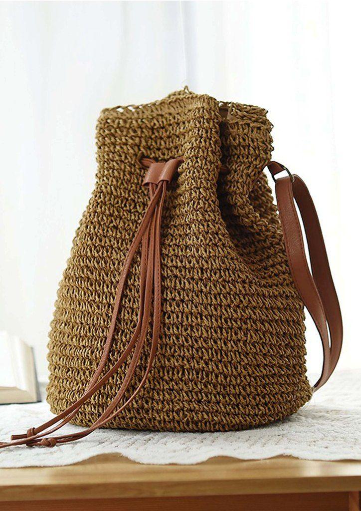 9da9bdd5f39 Τσάντα ψάθινη πουγκί ώμου   Bag collection   Bags, Bucket Bag και ...