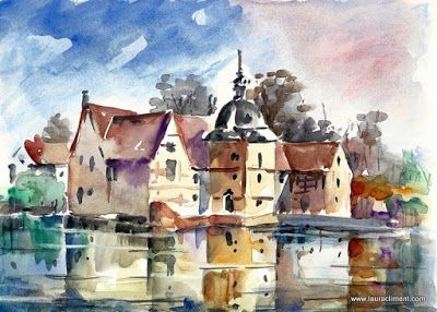LAURA CLIMENT Dortmundt landscape. Watercolor