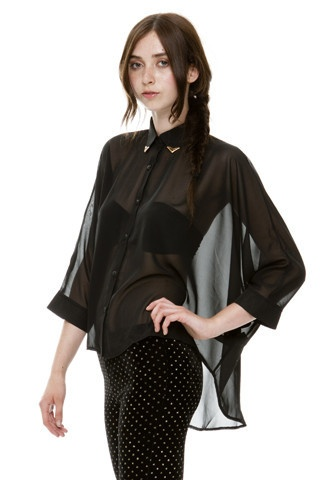 Betsey Black Chiffon Batwing Shirt With Gold Collar Tips | Oh My Love