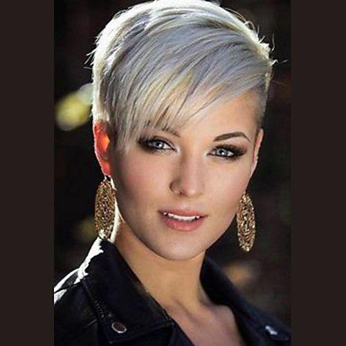 Human Hair Capless Wigs Human Hair Straight Pixie Cut / Short Hairstyles 2019 Side Part Short Machine Made Wig