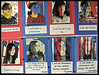 """""""Take photos of all the 6th grade students and convert them on Photoshop into a high contrast line drawing printed on a transparency. The students create their own personal statement and add pop collage colors."""""""