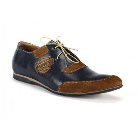 Tmavomodré pánske kožené topánky s nášivkami COMODOESANO - fashionday.eu