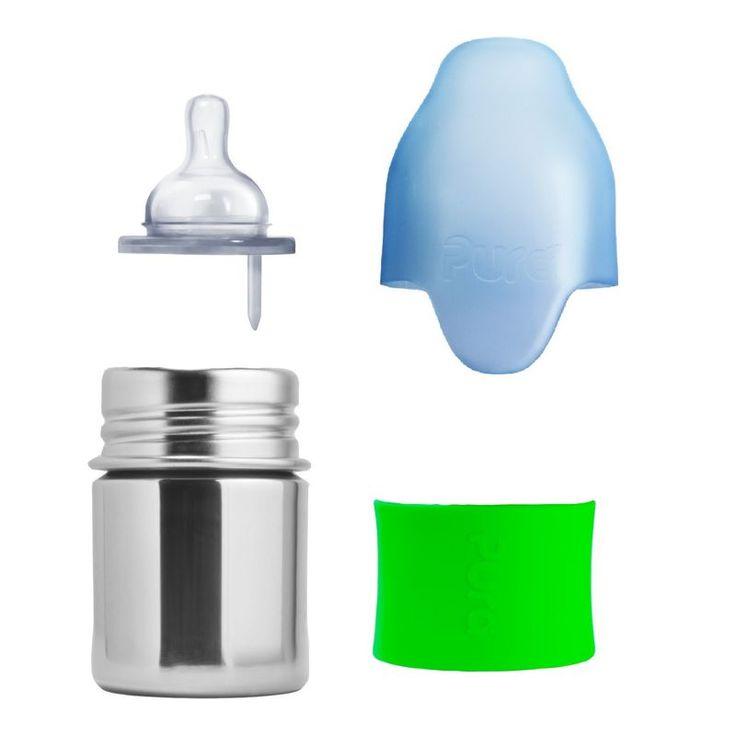 Von der Stillflasche zur Kecksdose. Das kann man glauben, denn das Pura kiki Flaschenkonzept erlaubt ein Mitwachsen der Flaschen durch durchdachtes Zubehör. Das Kaufen unzähliger Flaschen ist vorbei. Zudem besticht die fesche Optik durch die polierte Edelstahloptik, welche mit einem farblichen Silikon-Sleeve nach den persönlichen Vorlieben kombiniert wird. Zudem kann so bei Geschwistern kinderleicht zwischen gleichen Flaschen unterschieden werden.