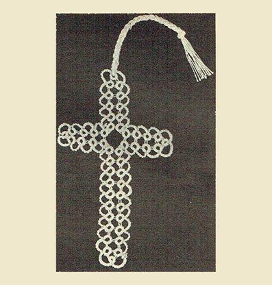 Genuine Vintage 1970s Lacy Cross Bookmark Tatting Pattern PDF