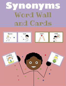 Synonyms Word Wall and Cards is a 2-in-1 product that contains a total of 87 synonym pairs as well as a synonym poster.Use this Synonym set in a variety of ways:   *A synonym word wall/bulletin board in the classroom   *An interactive synonym bulletin board  one half of the synonym is placed on the bulletin board and Velcro is placed on the other side.