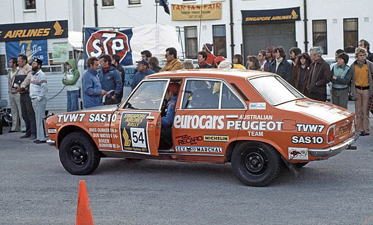 1977 Peugeot 504 rally car on Singapore Airlines London Sydney