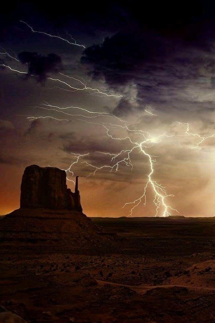 Lightening over Monument Valley, AZ