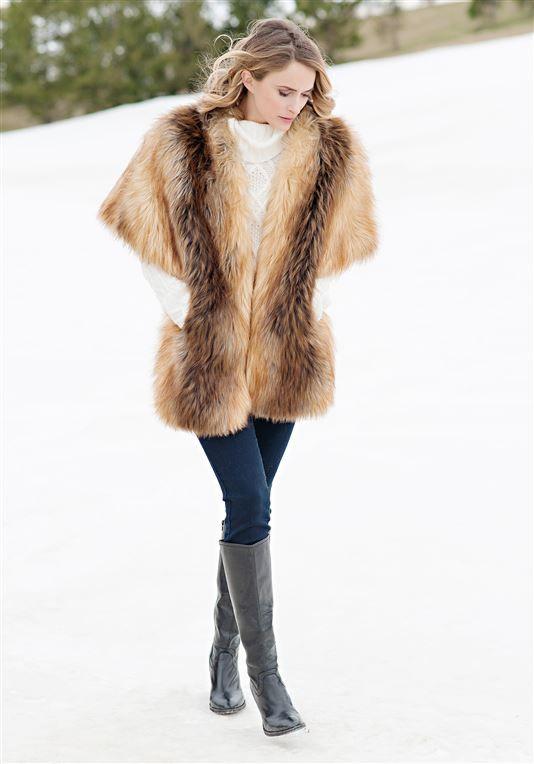 bbf2f849fdf16 Red Fox Faux Fur Pocket Shrug