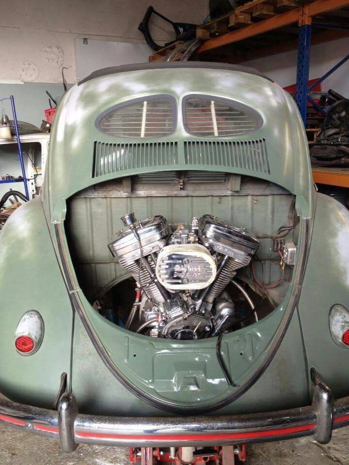 V Twin Motorcycle Engine Dropped Into A Vintage Vw Beetle