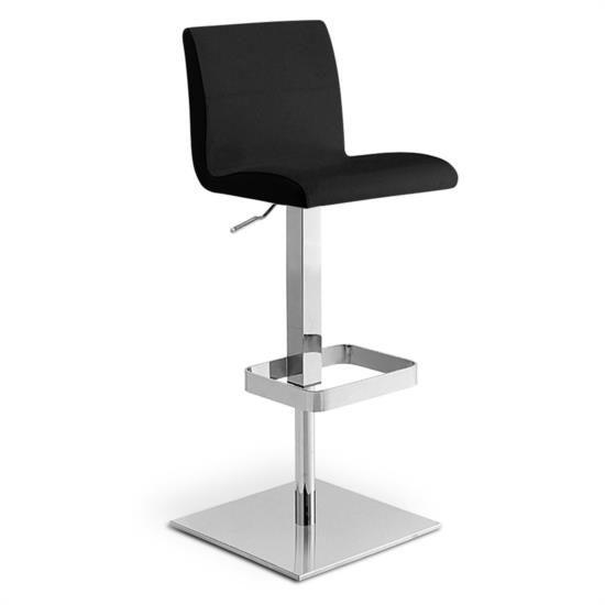 Sgabello in metallo con sedile e schienale in vera pelle