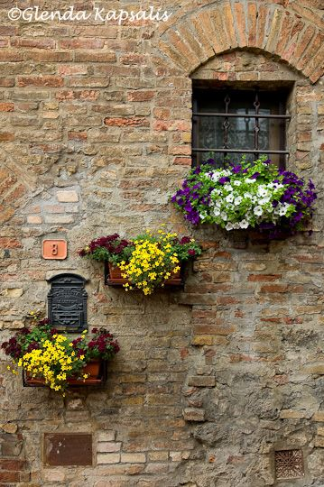 Tuscany, love the flower boxes against the vintage archetecture.