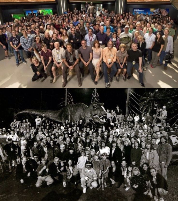 Jurassic World cast and crew. Jurassic Park cast and crew. - I think the T Rex looks best. Sorry rest.