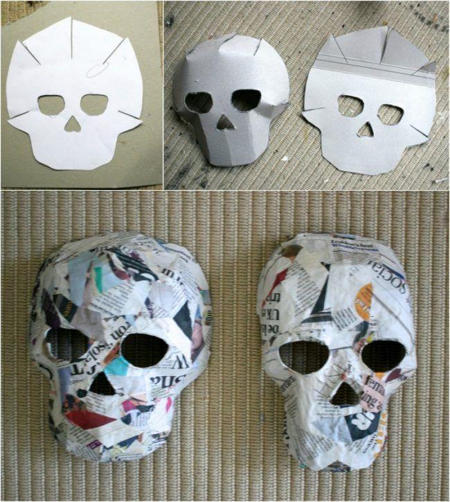 basteln-pappmache-masken-halloween-totenköpfe-vorlage-zeitungspapier