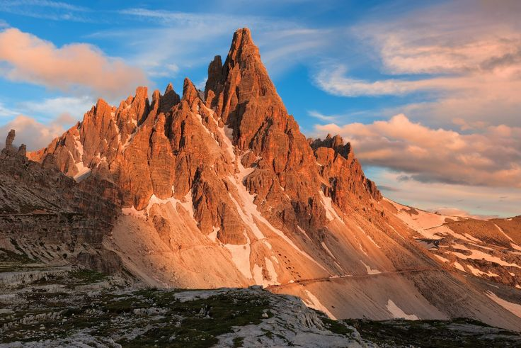 Mt Paterno - Early morning in the national park of Three Peaks of Lavaredo. The majestic Paterno in a soft warm light.