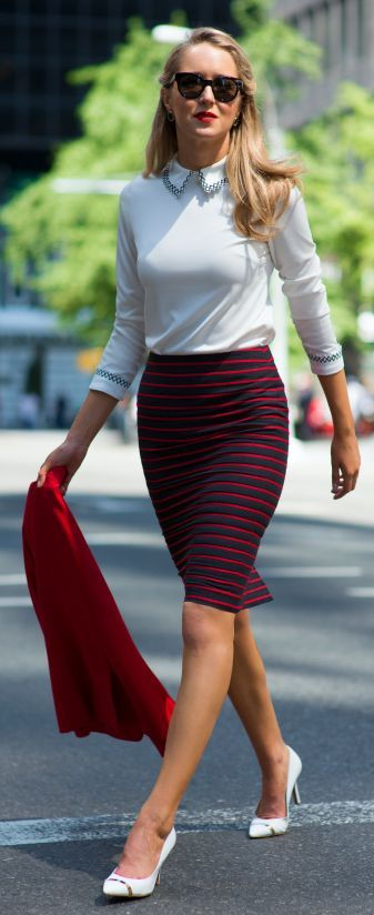 Black And Red Stripe Pencil Knee Length Skirt by The Classy Cubicle
