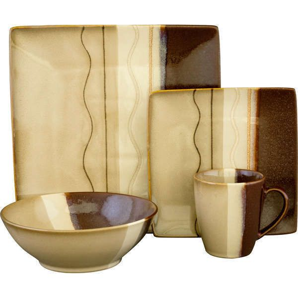 Affordable Square Contemporary Modern Brown 16 Piece Casual Dinnerware Set #Sango