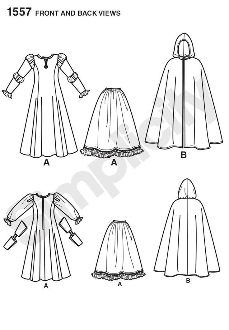 PATRON Simplicity 1557HH-Größe Frankreich 7 bis 14 Jahre  Prinzessin Merida Ko…
