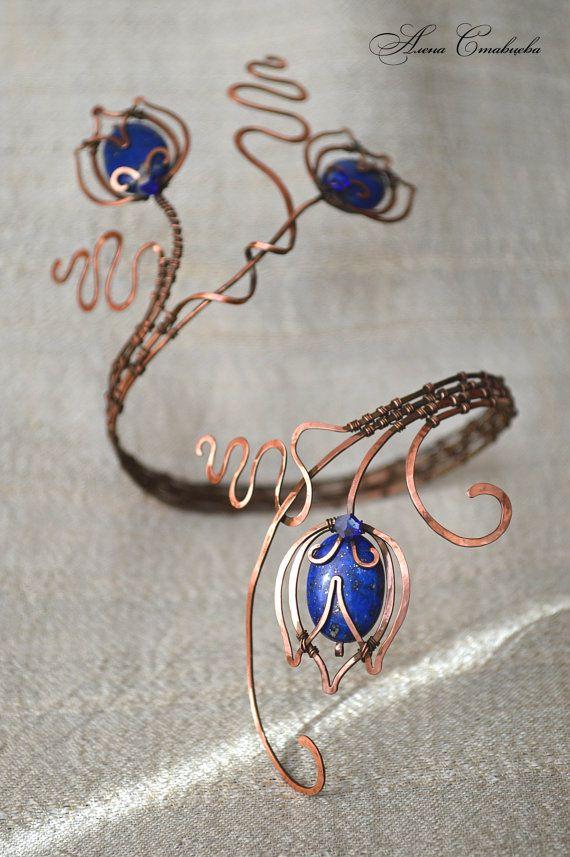 upper arm cuff Upper arm wrap Jewelry copper by AlenaStavtseva