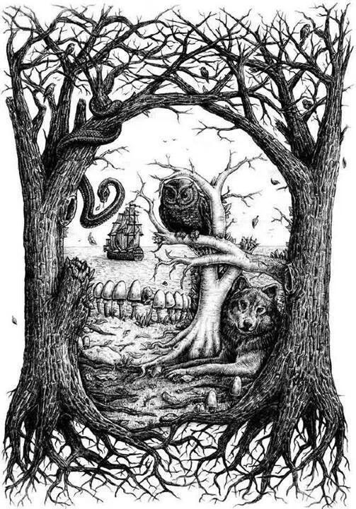 Skull Wolf Owl Ship Snake Fantasy Myth Mythical Mystical Legend Coloring Pages Colouring Adult