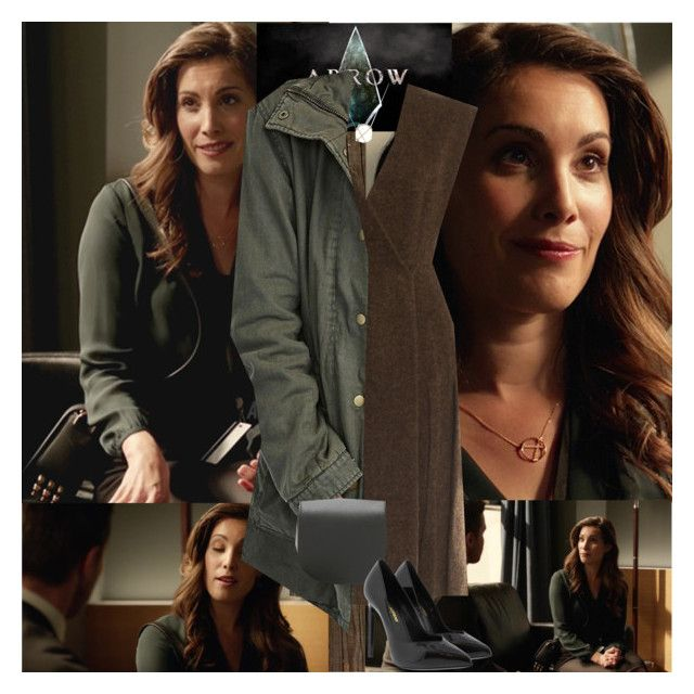 """""""Arrow~Susan Williams~5x05~Human Target"""" by tvshowobsessed ❤ liked on Polyvore featuring NLXL, Prada, Velvet by Graham & Spencer and Yves Saint Laurent"""