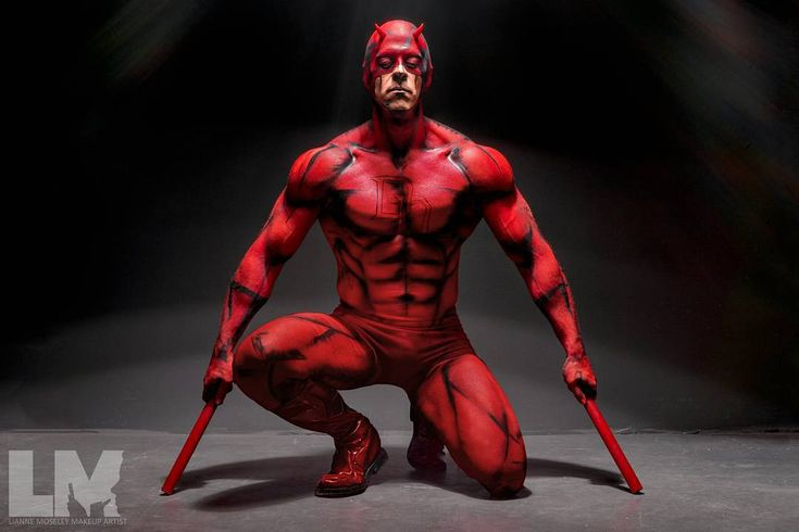[BODYPAINT] Finally a nice clean photo of Daredevil for you guys!  I am a failure at editing luckily my girl @kaypikefashion was kind enough to tidy it up for me so you guys can see him in an his glory!  This look was hand painted  airbrushed and took about 8 hours including breaks  Photographer: @steveosmondphotography  Model: @wolverduck  Products: @kryolanofficial Aquacolor paints  @europeanbodyart vibe  endura airbrush paints applied with my @iwatamedea airbrush system…