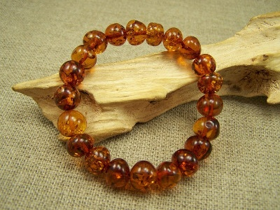 Amber beads bracelet - cognac colour beads.