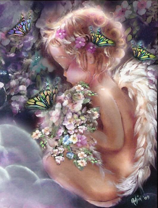 ART~ Sweet Angels In Heaven, Scattering Blossoms And Butterflies To Land In Your Path Or Alight By Your Side. A Single Petal Or Fragrance, Sometimes Even A Coin, But Always A Loving Sign From A Loved One Who Died ~ C.C.Crystal ♥•✿ڿڰۣ