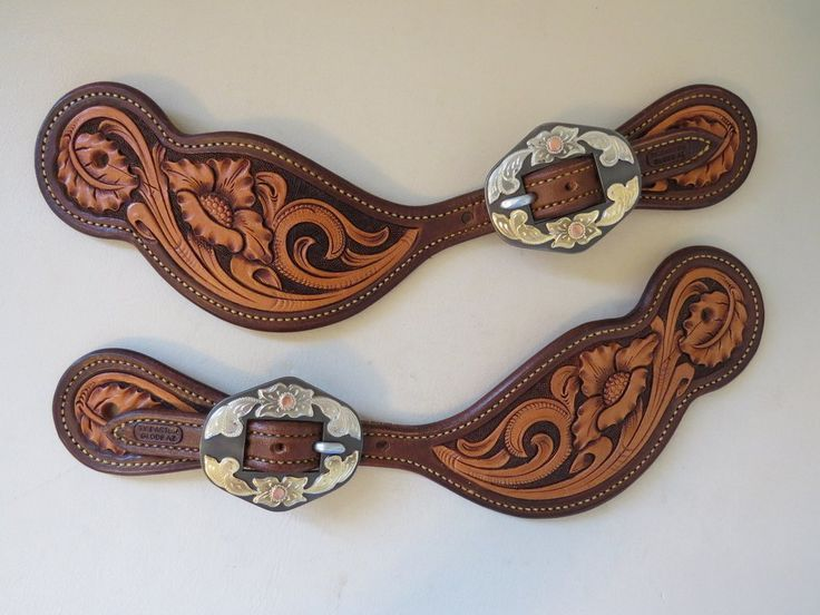 New Handmade TY BARTON Tear Drop Style Floral Carved Spur Straps DON ROGERS Buckles