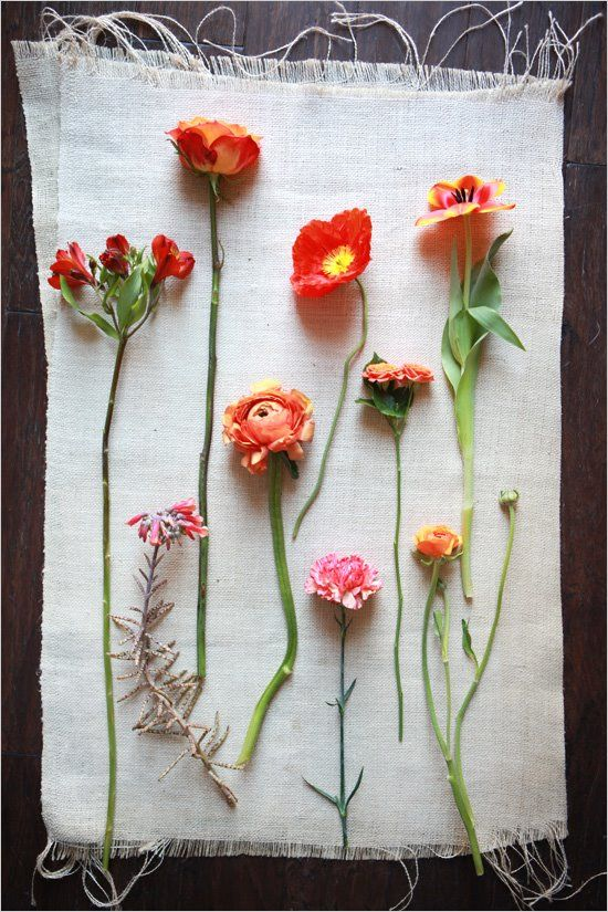 Orange flowers. i wouldnt hang them though.. love the variations of flower types