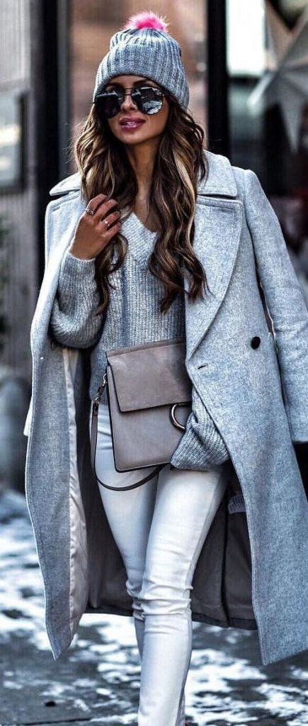 #Winter #Outfits / All Gray Knit Layering + Pink Color Pop