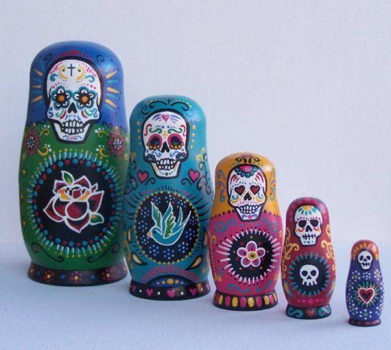 Sugar Skull nesting dolls.