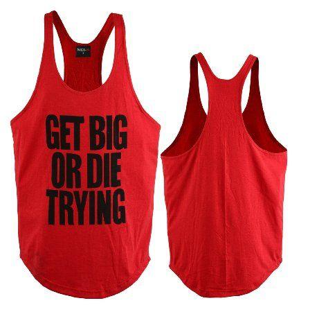 Mens Classic GET BIG OR DIR TRYING Gym Vest Alternative Stringer Vest Tank Top Bodybuilding Clothing Red (MEDIUM): Amazon.co.uk: Sports & Outdoors