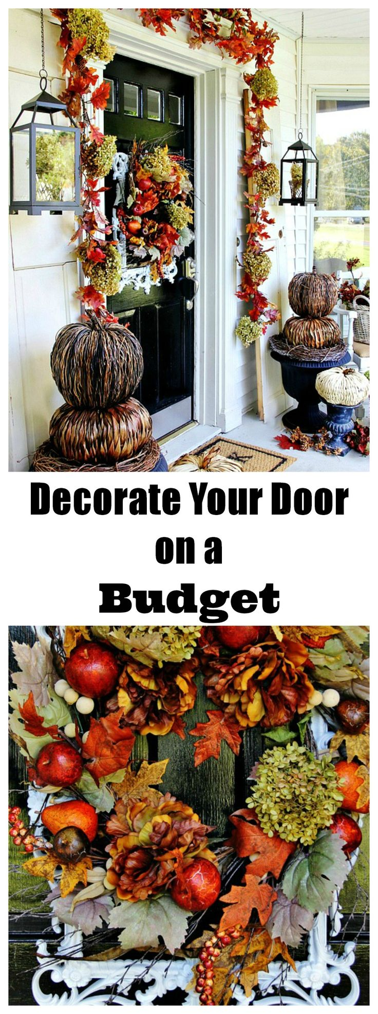 Looking for easy budget ideas for decorating the front door.  Make pumpkin topiaries and hydrangea  garland.  thistlewoodfarms.com