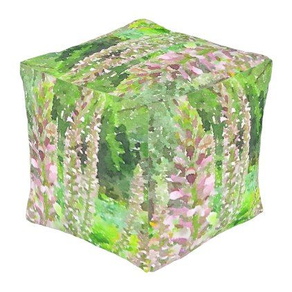 Watercolor Lupine Flowers Pretty Botanical Garden Outdoor Pouf - watercolor gifts style unique ideas diy