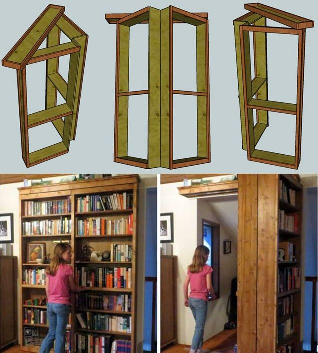 """This is a wonderful project. Combo bookshelf and door for your secret room . It's amazing ! Materials : 2 sheets of 1/4"""" sanded plywood , 6 panels of 3/4 x"""