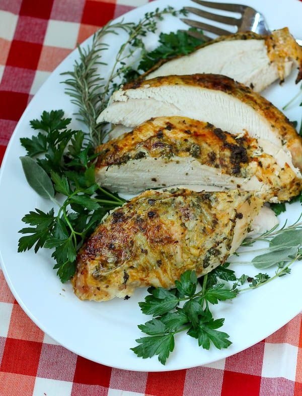 This herb roasted turkey breast is a delicious and flavorful idea for Thanksgiving dinner. Great...
