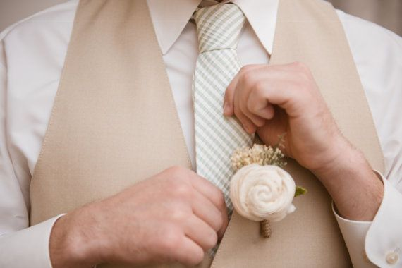 Ivory Sola Flowers Boutonniere Groom Wedding by CuriousFloral