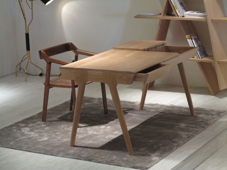 NEW !! This is our newest product METIS desk. It was presented in isaloni and here it is, glowing with KUNDERA chair in solid walnut #wood #joinery #design #desk #office #solid #joints #oak #walnut
