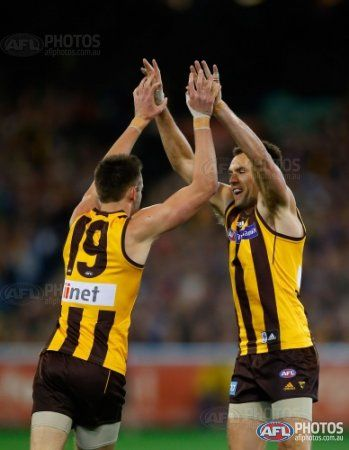 Jack Gunston and Luke Hodge of the Hawks celebrate a goal during the 2013 1st Preliminary Final match between the Hawthorn Hawks and the Geelong Cats at the MCG, Melbourne on September 20, 2013. (Photo: Lachlan Cunningham/AFL Media)
