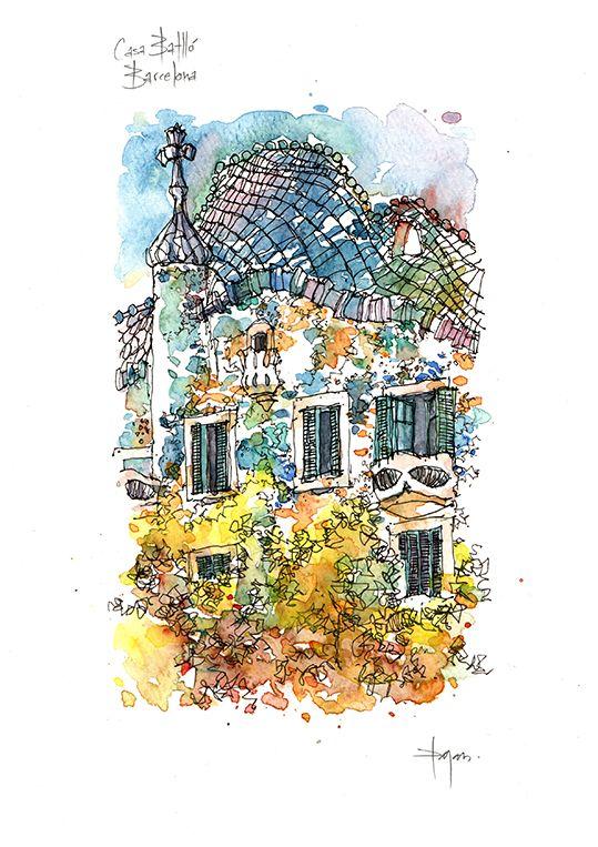 Casa Batlló LIMITED EDITION PRINT / Antoni Gaudí. Eixample, Barcelona / drawing…