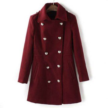 Sophisticated Turn-Down Collar Double-Breasted Epaulet Embellished Long Sleeves Slimming Women's Overcoat, CLARET, S in Jackets & Coats | DressLily.com