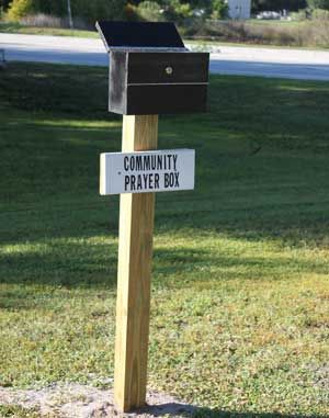 Community prayer box - I love this idea. Maybe something to go outside when the front has been redone?!