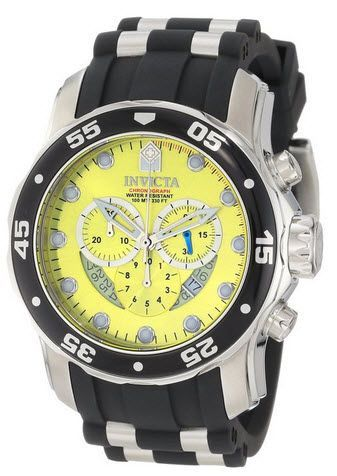 Invicta Men's 6978 Pro Diver Collection Chronograph Yellow Dial Black Polyurethane Watch, diving watches, dive watch, scuba diving watch, scuba diving equipment