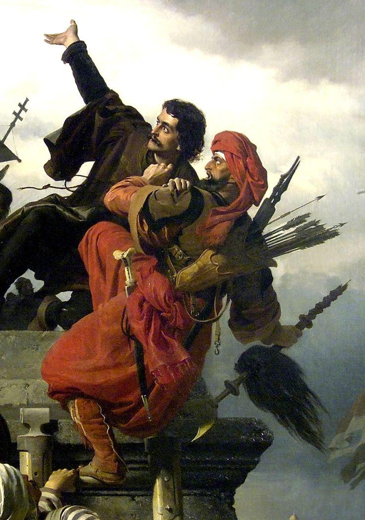 Wágner Sándor: Dugovics Titusz, részlet, önfeláldozása, 1859, olaj, vászon, 170 x 147cm
