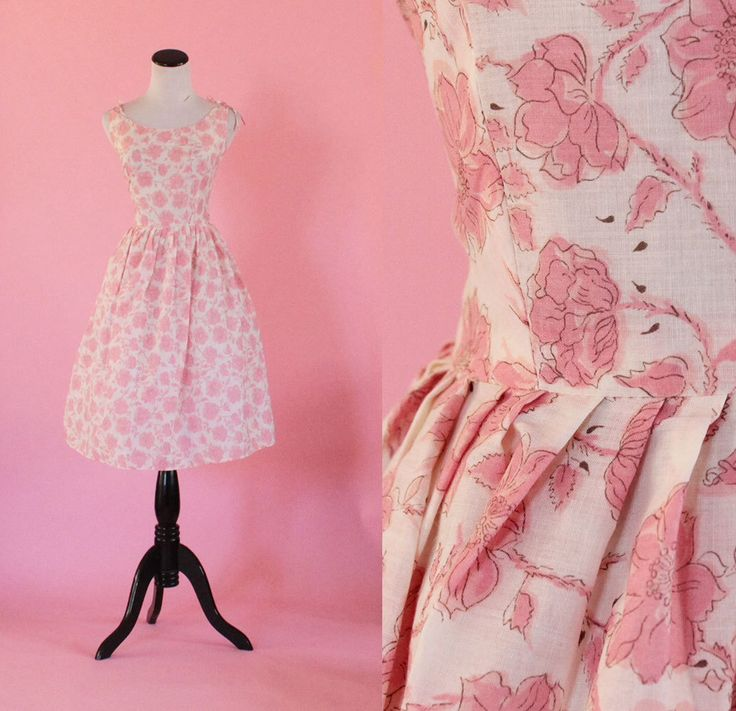 1950s floral dress/ 50s pink sundress/ tie shoulders/ small/ medium • free US shipping by thesweetlifevintage on Etsy https://www.etsy.com/listing/240501251/1950s-floral-dress-50s-pink-sundress-tie