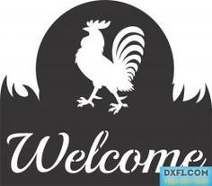 Rooster Welcome Sign cut-out template - Free DXF File for cnc machines. This sign stencil will look great from metal, wood or plastic. It may also be printed on a plotter and transferred to the workpiece for hand cutting, such as plasma torch. Or milled by hand router. Just drill a couple of holes for fasteners and your welcome sign is ready.